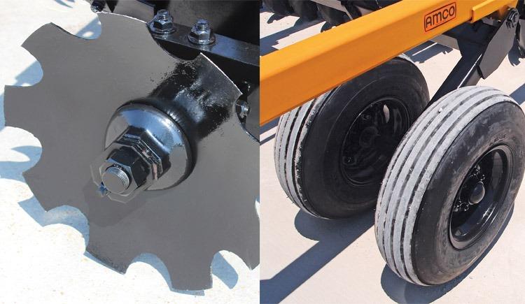 Closeup of bolt (left) and closeup of tire (right)